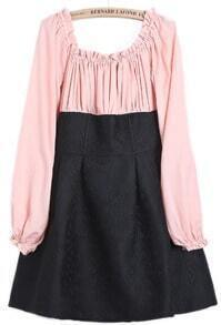 Pink Long Sleeve Boat Neck Contrast Black Dress