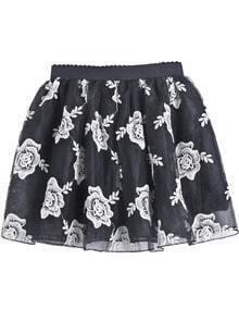 Black Elastic Waist Embroidered Mesh Yoke Skirt