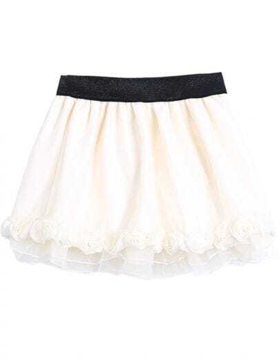 Apricot Elastic Waist Applique Organza Skirt