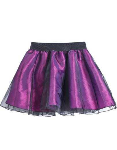 Purple Elastic Waist Organza Flare Skirt
