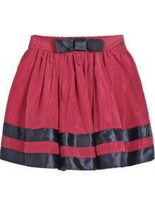 Red Striped Bow Pleated Skirt