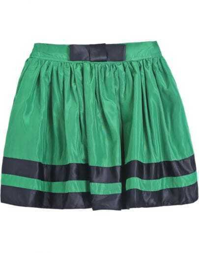 Green Striped Bow Pleated Skirt