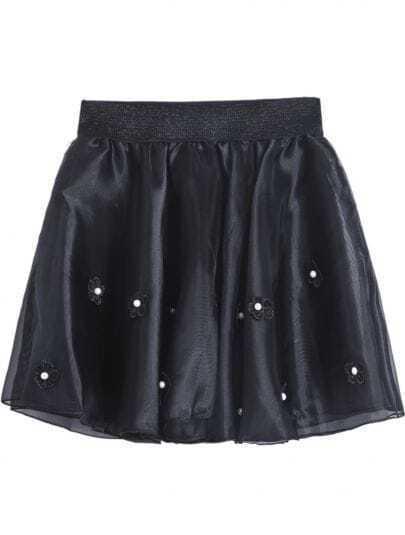 Black Bead Applique Flare Skirt