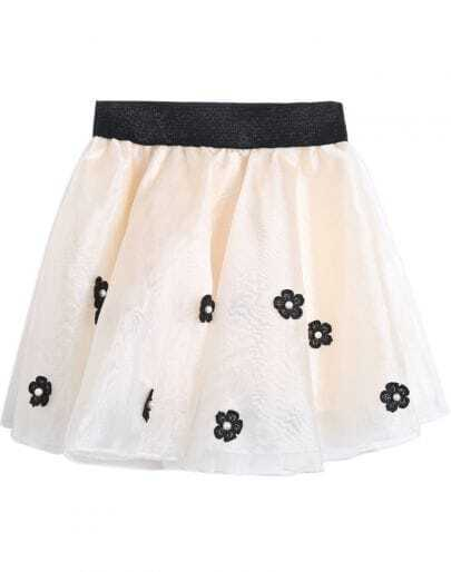 Apricot Bead Applique Flare Skirt
