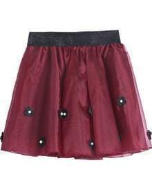 Red Bead Applique Flare Skirt