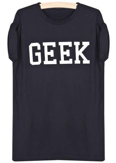 Black Short Sleeve GEEK Print T-Shirt