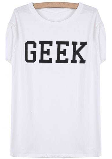 White Short Sleeve GEEK Print T-Shirt