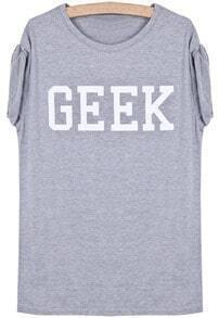 Grey Short Sleeve GEEK Print T-Shirt