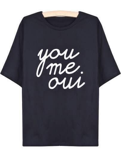 Black Short Sleeve you me oui Print T-Shirt