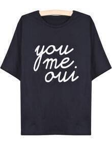 Black Short Sleeve you me oui Print T-Shirt