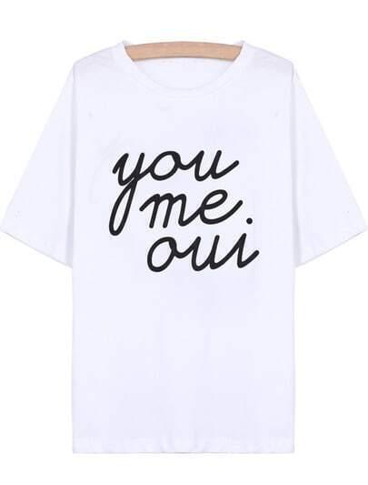 Camiseta you me oui manga corta-blanco