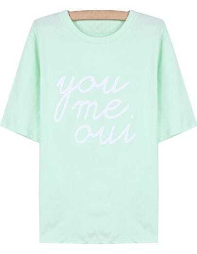 Green Short Sleeve you me oui Print T-Shirt