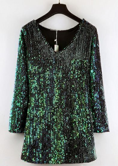 Green V Neck Long Sleeve Sequined Bodycon Dress