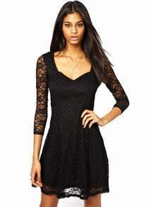 Black Square Neck Embroidered Lace Dress
