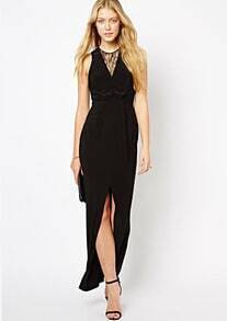 Black Contrast Lace Sleeveless Split Chiffon Dress