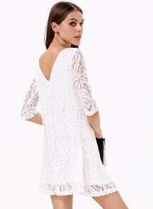 White Round Neck Embroidered Ruffle Lace Dress