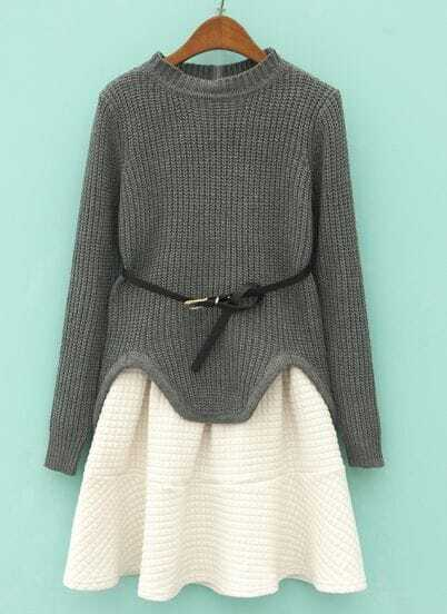 Grey Long Sleeve Asymmetrical Knit Top With Skirt