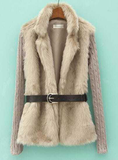 Khaki Contrast Knit Long Sleeve Faux Fur Coat
