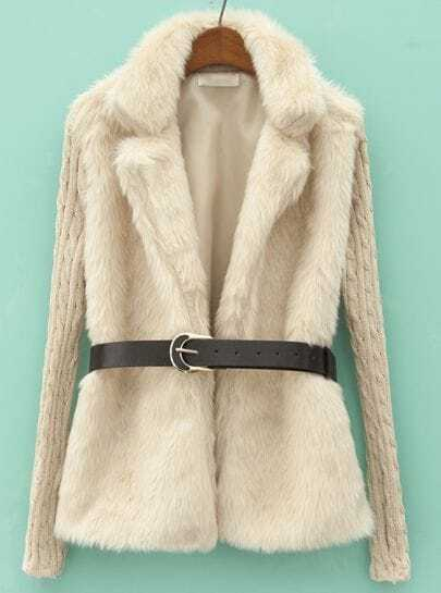 Beige Contrast Knit Long Sleeve Faux Fur Coat