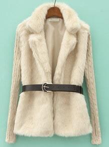 Beige Contrast Knit Long Sleeve Faux Fur Coat