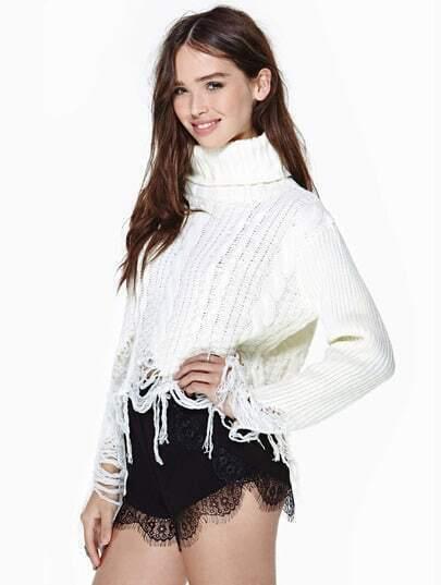Black Contrast Lace Slim Shorts