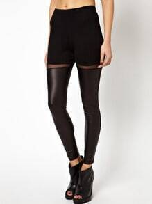 Black Contrast PU Leather Mesh Yoke Skinny Leggings