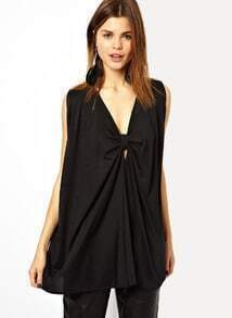 Black Sleeveless Bow Loose Chiffon Blouse