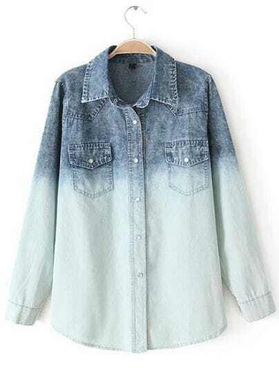 Blue Gradients Lapel Long Sleeve Denim Blouse