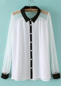 White Long Sleeve Contrast Trims Chiffon Blouse
