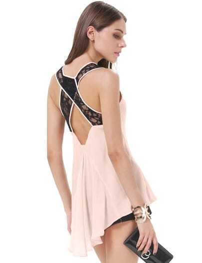 Pink Lace Criss Cross Dipped Hem Chiffon Tank Top