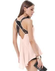 Pink Lace Criss Cross Dipped Hem Chiffon Tank Top