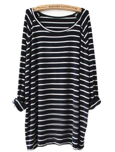 Navy White Striped Long Sleeve T-Shirt -SheIn(Sheinside)