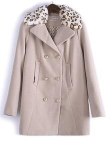 Kahaki Long Sleeve Contrast Leopard Fur Collar Coat