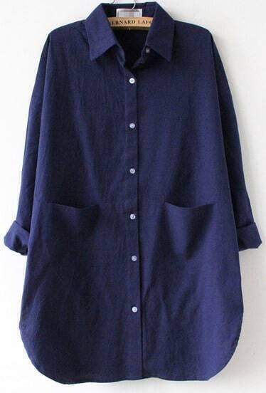 Navy Long Sleeve Pocket Lapel Loose Blouse