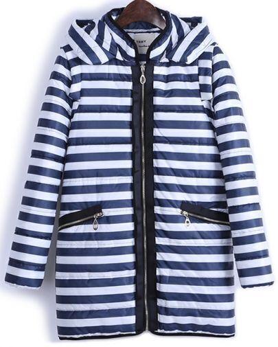 Navy White Striped Hooded Zipper Coat