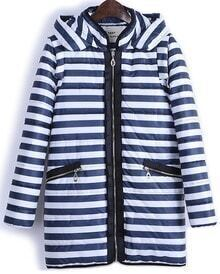 Navy White Striped Hooded Zipper Coat