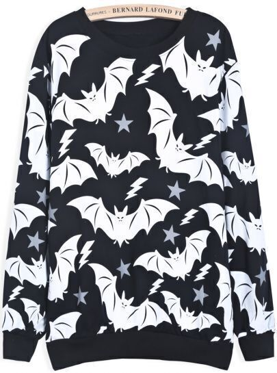 Black Long Sleeve Bat Print Loose Sweatshirt
