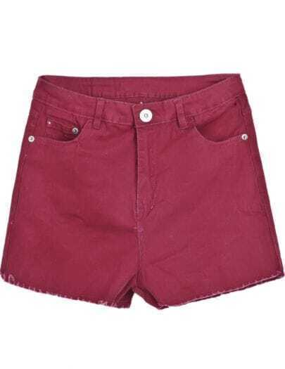 Red Simple Design Fringe Pockets Shorts