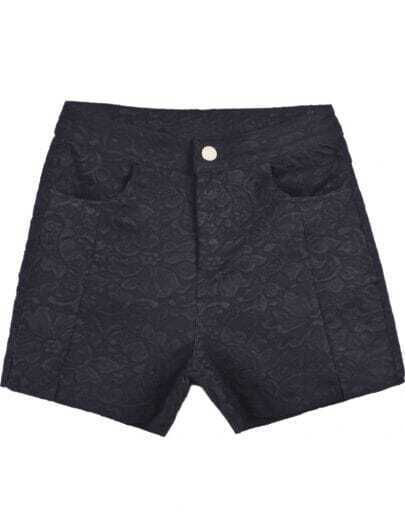 Black Pockets Embroidered Lace Shorts