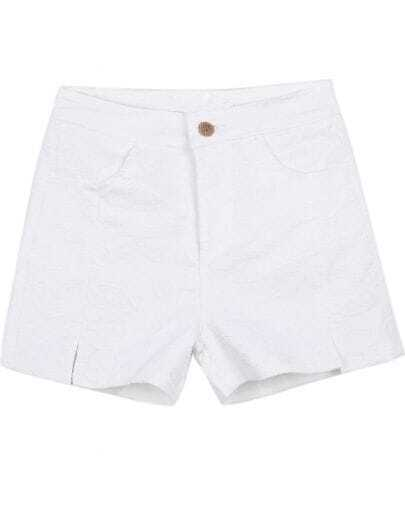 White Pockets Embroidered Lace Shorts