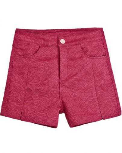 Red Pockets Embroidered Lace Shorts
