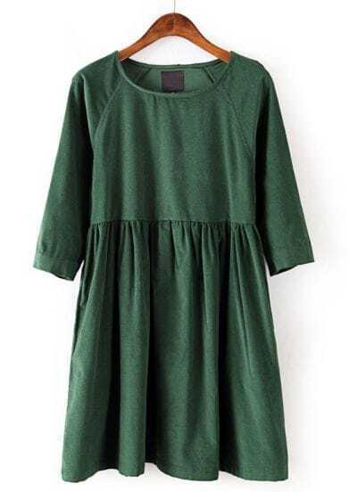 Green Long Sleeve Corduroy Pleated Dress