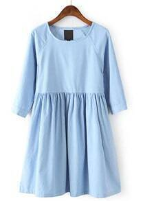 Blue Long Sleeve Corduroy Pleated Dress
