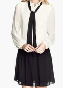 White Long Sleeve Contrast Black Chiffon Dress