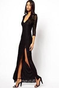 Black Deep V Neck Split Lace Dress