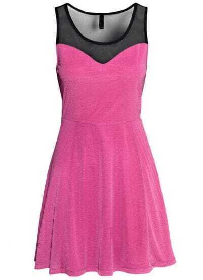 Pink Sleeveless Contrast Mesh Yoke Pleated Dress