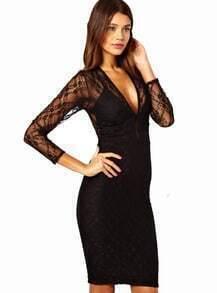 Black Deep V Neck Sheer Lace Bodycon Dress