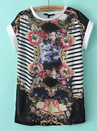 White Short Sleeve Striped Floral T-Shirt