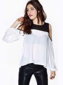 White Off the Shoulder Contrast Black Chiffon Blouse