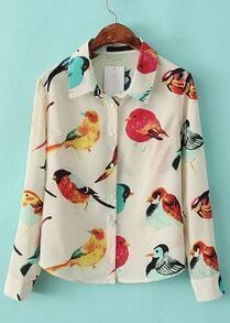 Apricot Lapel Long Sleeve Random Birds Print Blouse